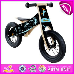 Black Color Fashion Wooden Balance Bike for Kids, Modern Children Wooden Bike Toy, Best Quality Wooden Bike Set Toy for Baby W16c096