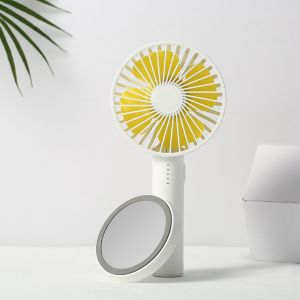 Yellow color Mini Fan Portable Desktop USB Rechargeable Phone Holder Portable Clip on Cooling Fan for Make up Mirror Base