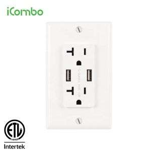 Max 5VDC 3.6 A Duplex Wall Electrical Socket USB Outlet
