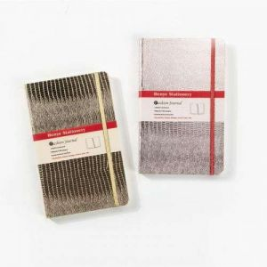 Metallic Lizard Texture Leatherette Paper Notebook With Elastic Band Closure
