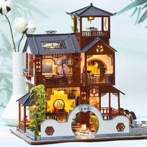 Style Furniture Wooden House Toys Miniature DIY Dollhouse With Light