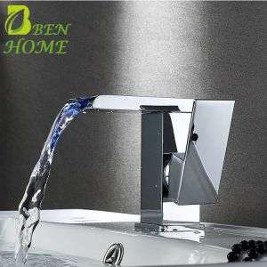 Waterfall Temperature Sensor Led Light Colour Changing Waterfaucet