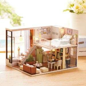 Miniature DIY Doll house Toy Wood Dollhouse Kid Toys Set Box Packing Bedroom Children Modern Furniture Toys