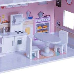 Wooden Dollhouse Educational Toys Three Tayers White Wooden Doll House