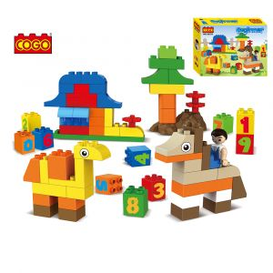 COGO free style middle particles zoo animal 3D diy building puzzle block toys