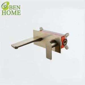 Golden Brass Concealed Basin Faucet Wall Mounted Basin Faucet