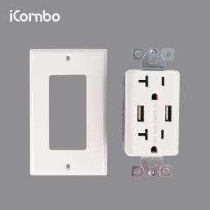 Icombo High Speed USB Wall Power Sockets Multipole Outlet PC Screw Type Standard Grounding White or Customerized 125V