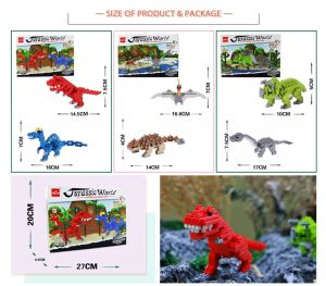 Building Blocks Toys dinosaur series jurassic world mini block toy hot selling diy building blocks toys for kids