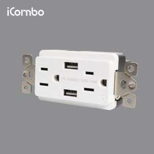 ac power usb socket with 1 USB and 1 type c port 4.8A 15A