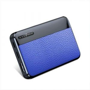 Mini Portable Fast Charging Slim Leather case Mobile Charger 5000Mah Power Bank With Led Light