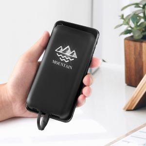 Best selling Trending products Mobile Holder Wireless Power bank Light up Logo,6000mAh Power bank built in cable
