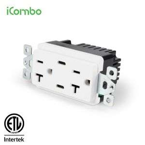icombo 2.1A Wall Electrical Socket with 2 Type C ports