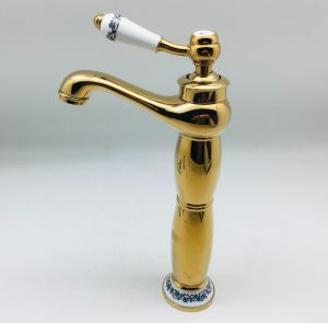 High Golden Color Zinc Sanitary Basin Water Faucet for Middle East Market