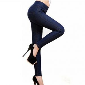 High Quality Plus Size Women Fashion Warm Fur Thick Blue Color  Jeans Tights (14348)