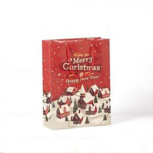 Factory Wholesale Custom Merry Christmas Paper Gift Bag With Handles