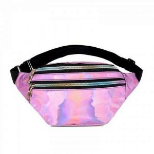 Holographic Waist Bags Women Pink Silver Fanny Pack Female Belt Bag