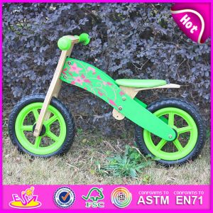 Green Color Hot New Product for 2015 Cheap Wooden Bike for Kids, Fashion Wooden Balance Bike Toy, High Quality Children Wooden Bike W16c113