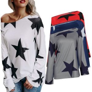 Hot Sale Street Style Long Sleeve Printed Star Women  Multi Color T-Shirt