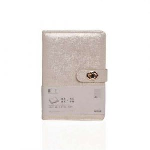 Macarons Color Soft Touch Glitter Leather Hardcover Notebook With Metal Lock Closure