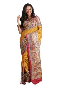 Taster ghicha screen printing silk Saree