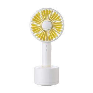 Yellow color Mini Handheld Handy 5 Speed USB Fan with Rotation Base
