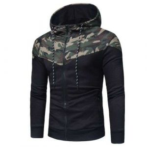 Black Color Men′s Fall Winter Bodybuilding Training Hooded Jacket Casual Sports Wear Factory Can ODM Service