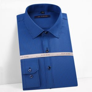 Men′s Striped Oxford Spinning Comfortable Breathable Design Dress  Dark Blue Color Shirts