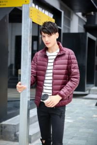 Maroon Color Men Winter Lightweight Packable Puffer Jacket