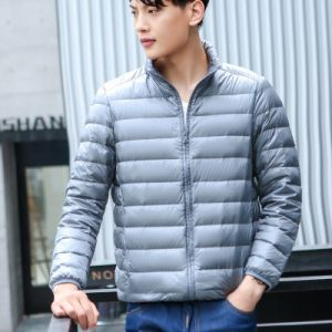 Grey Color Men Winter Lightweight Packable Puffer Jacket