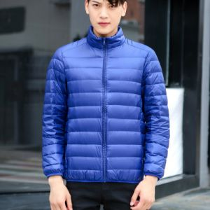 Blue Color Men Winter Lightweight Packable Puffer Jacket