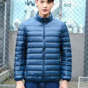 Navy Blue Color Men Winter Lightweight Packable Puffer Jacket