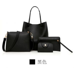Minimalist Women′s PU Leather Black Color  Handbag+Shoulder Bag+Purse+Card Holder 4PCS Set Bag