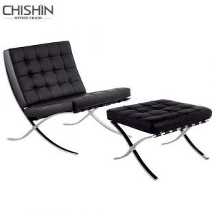 Modern Home Barcelona Chair Leisure Leather Chair for Home Ottoman