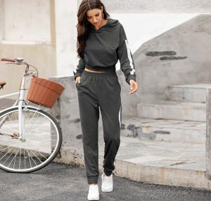 Grey Color New Arrival Women Stitching Pants and Hoodies