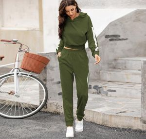Green Color New Arrival Women Stitching Pants and Hoodies