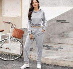 Light Grey Color New Arrival Women Stitching Pants and Hoodies