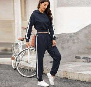 Navy Blue Color New Arrival Women Stitching Pants and Hoodies