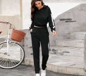 Black Color New Arrival Women Stitching Pants and Hoodies
