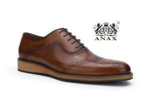 Brown Color New Design and High Quality Popular Men′s Lace-up Leather Casual Shoes