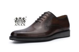 Dark Brown Color Men′s Lace-up Leather Business Comfortable Casual Shoes