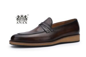 Dark Brown Color Men′s Loafer Shoes