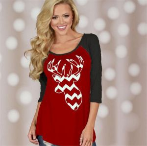New Design Christmas Theme Printing Color T- Shirt (80009)