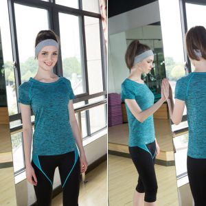 New Design Quick Dry OEM Custom Fit Yoga Sport Sky Blue Color T Shirt