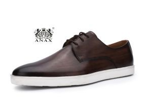 Dark Brown Color New Fashion and High Quality Popular Men′s Lace-up Leather Sport Casual Shoes