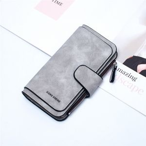 New Korean Dull Polish PU Card Holder Long Zipper Buckle  Grey  Color Wallet