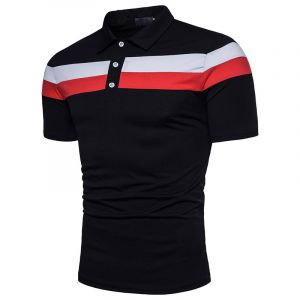 Black Color Men Golf Polo Tee Shirt with Your Own Design Digital Printing Polo Shirt
