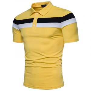 Yellow Color Men Golf Polo Tee Shirt with Your Own Design Digital Printing Polo Shirt