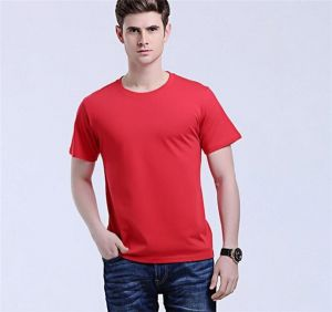 OEM Men′s Solid Color Cotton Printed Logo Red Color T-Shirts (46780)