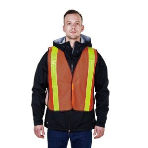 Orange Mesh High Visibility Reflective Stripe Safety Vest R112