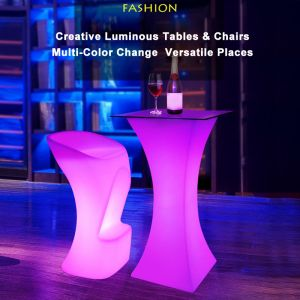 Outdoor Illuminated purpleLED Light Tables & Chairs